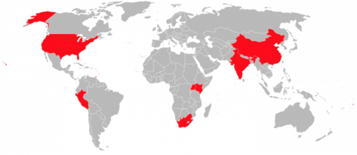 Map of world highlighting NGN's work in 12 countries across 4 continents